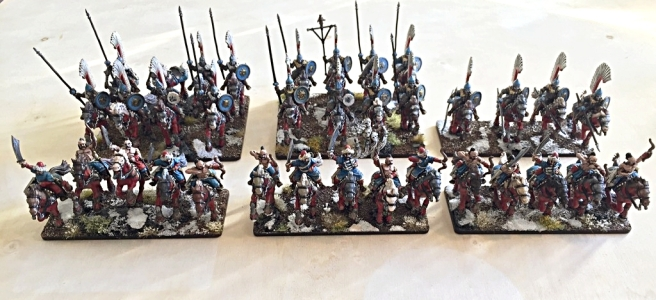 3 units of winged lancers and 3 units of ungol horse archers in formation