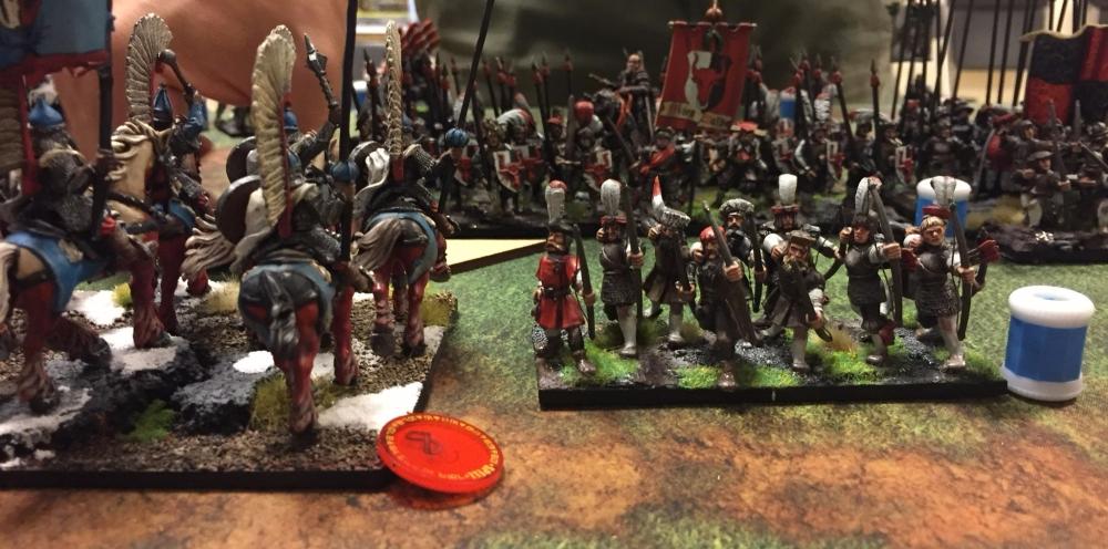 kislev winged lancers crashing into ostland battleline