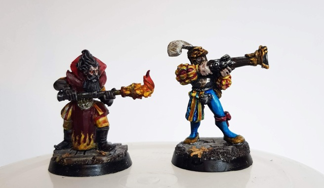 Westfalia miniatures fire wizard and games workshop war wagon blunderbluss crewman mordheim marienburgers