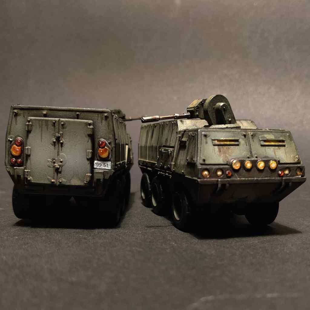Two warhammer 40k imperial logistics trucks
